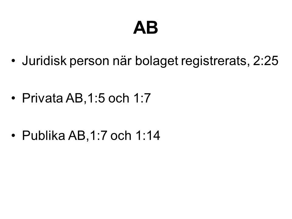AB Juridisk person när bolaget registrerats, 2:25 Privata AB,1:5 och 1:7 Publika AB,1:7 och 1:14