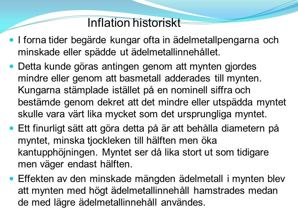 Inflation historiskt I forna tider begärde kungar ofta in ädelmetallpengarna och minskade eller spädde ut ädelmetallinnehållet. Detta kunde göras anti