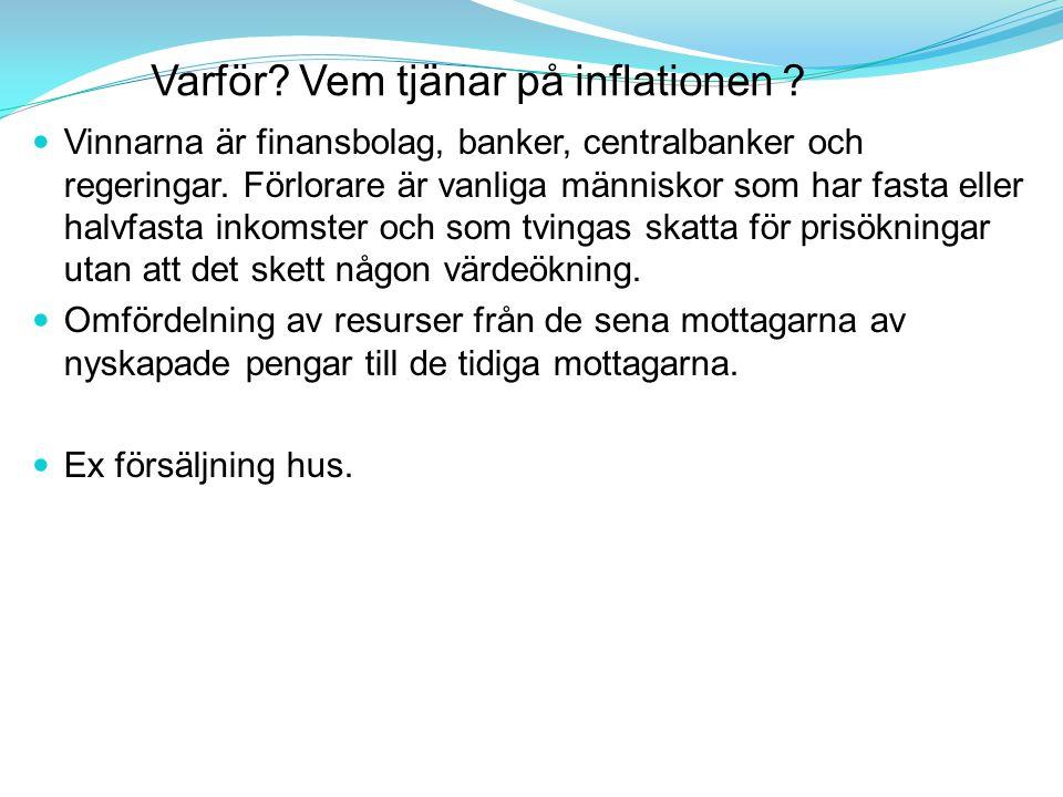 Varför? Vem tjänar på inflationen ? Vinnarna är finansbolag, banker, centralbanker och regeringar. Förlorare är vanliga människor som har fasta eller