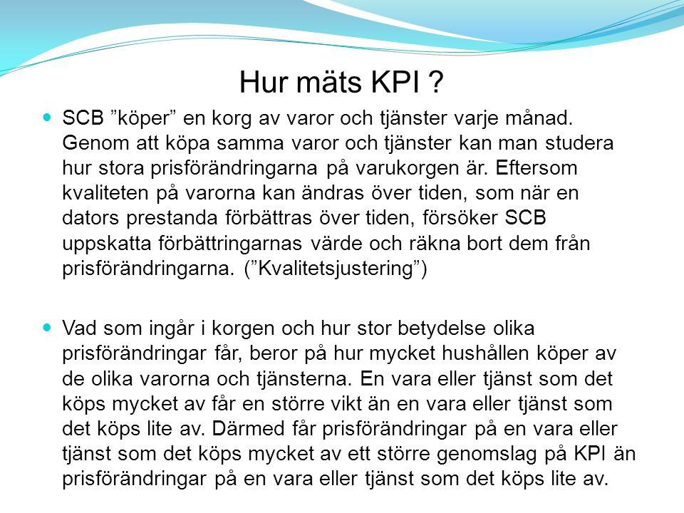 """Hur mäts KPI ? SCB """"köper"""" en korg av varor och tjänster varje månad. Genom att köpa samma varor och tjänster kan man studera hur stora prisförändring"""