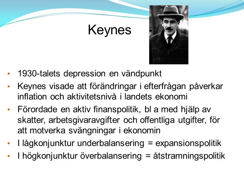 Keynes 1930-talets depression en vändpunkt Keynes visade att förändringar i efterfrågan påverkar inflation och aktivitetsnivå i landets ekonomi Förorda