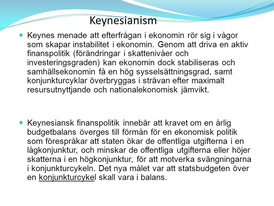 Keynesianism Keynes menade att efterfrågan i ekonomin rör sig i vågor som skapar instabilitet i ekonomin. Genom att driva en aktiv finanspolitik (förä