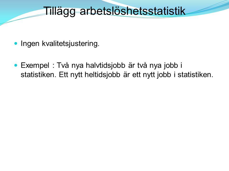Tillägg arbetslöshetsstatistik Ingen kvalitetsjustering. Exempel : Två nya halvtidsjobb är två nya jobb i statistiken. Ett nytt heltidsjobb är ett nyt