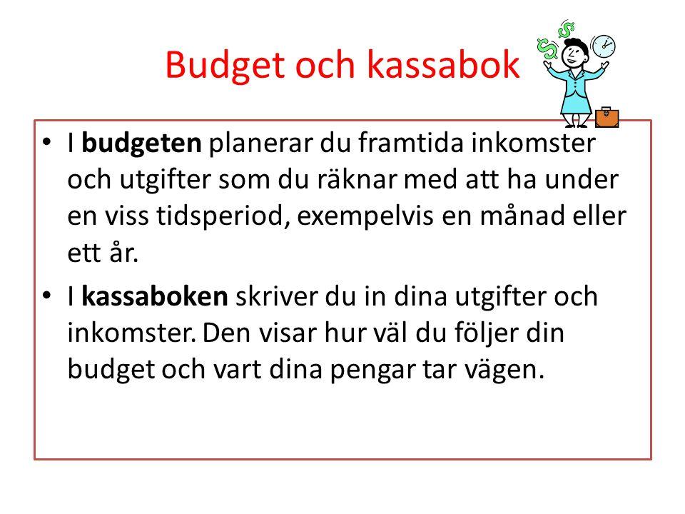 Budget och kassabok I budgeten planerar du framtida inkomster och utgifter som du räknar med att ha under en viss tidsperiod, exempelvis en månad elle