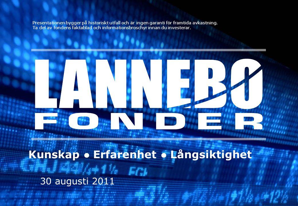 30 augusti 2011 Kunskap Erfarenhet Långsiktighet Presentationen bygger på historiskt utfall och är ingen garanti för framtida avkastning. Ta del av fo