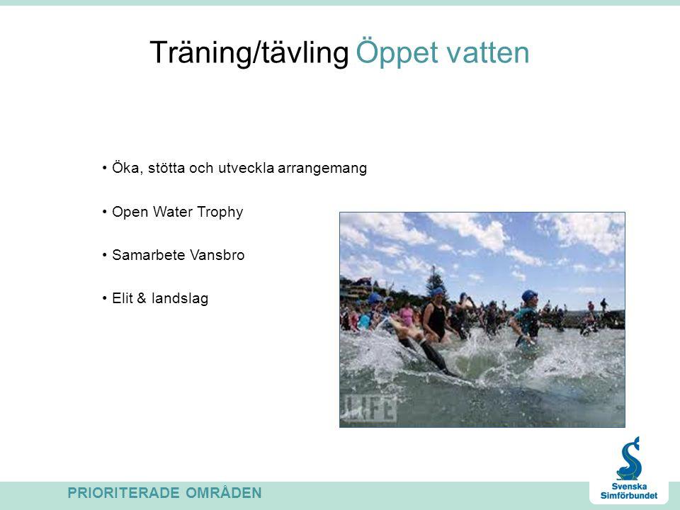Träning/tävling Öppet vatten Öka, stötta och utveckla arrangemang Open Water Trophy Samarbete Vansbro Elit & landslag PRIORITERADE OMRÅDEN