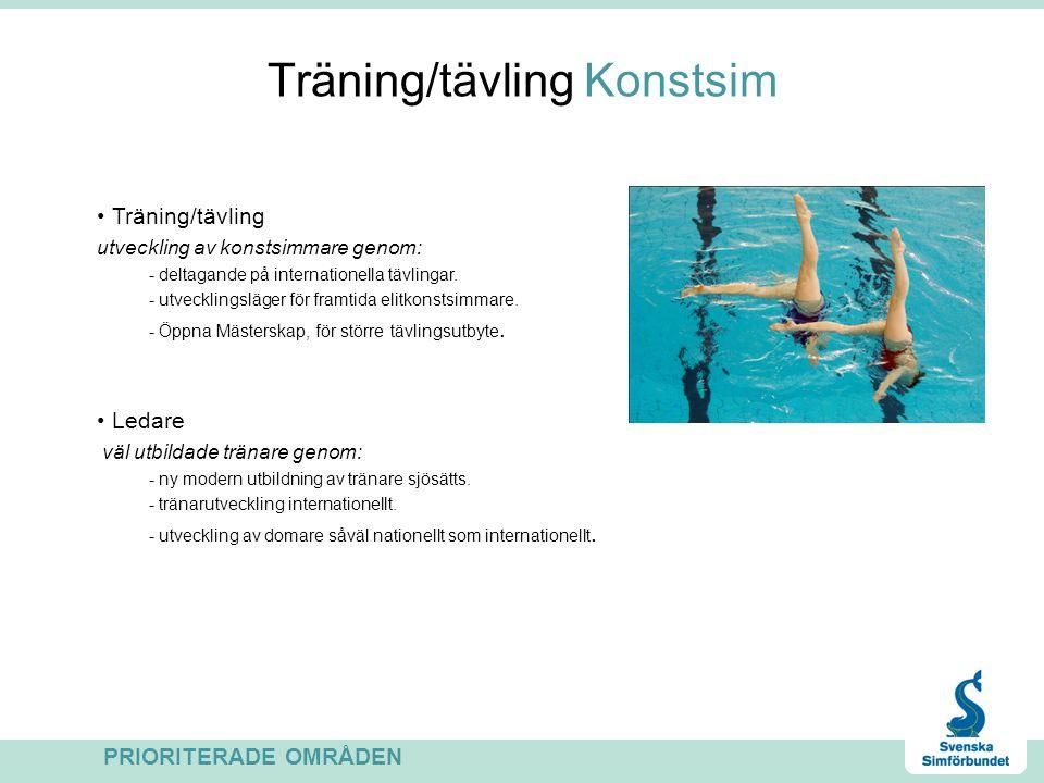 Träning/tävling Konstsim Träning/tävling utveckling av konstsimmare genom: - deltagande på internationella tävlingar. - utvecklingsläger för framtida
