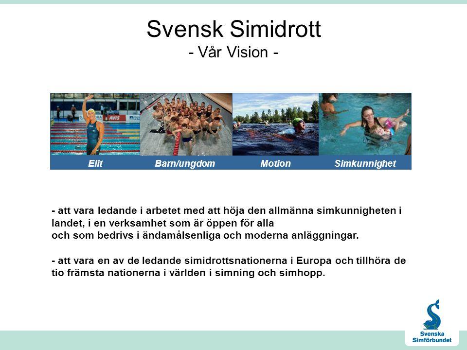 Svensk Simidrott - Vår Vision - - att vara ledande i arbetet med att höja den allmänna simkunnigheten i landet, i en verksamhet som är öppen för alla