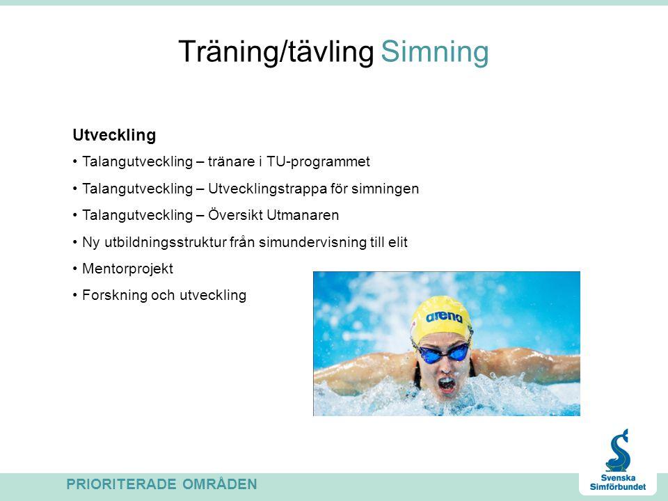 Träning/tävling Simning Talangutvecklingsprogram Läger och tävlingar för simmare i åldern 14-20 år Seniorlandslaget EM i Antwerpen OS i London VM i Istanbul Höghöjdsläger Sierra Nevada Pretoria PRIORITERADE OMRÅDEN