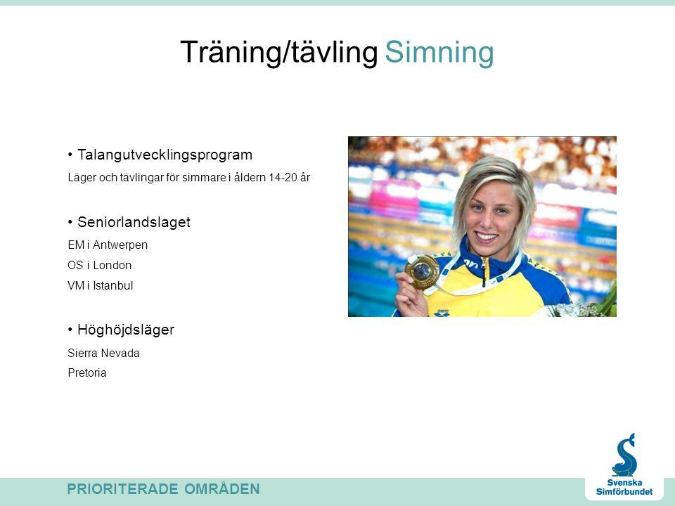 Träning/tävling Simning Talangutvecklingsprogram Läger och tävlingar för simmare i åldern 14-20 år Seniorlandslaget EM i Antwerpen OS i London VM i Is