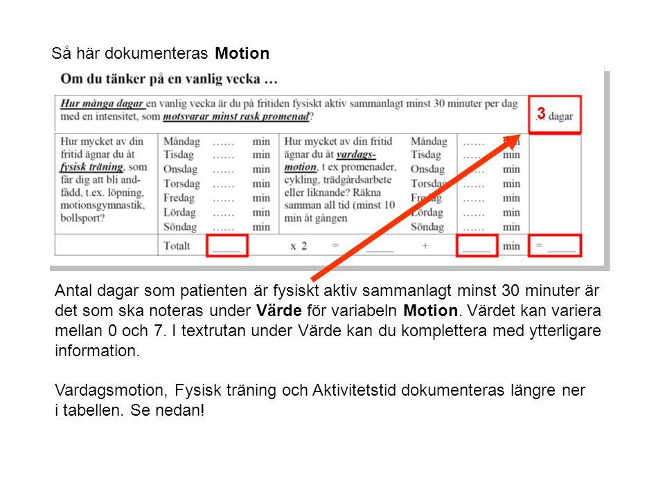 Så här dokumenteras Motion 3 Antal dagar som patienten är fysiskt aktiv sammanlagt minst 30 minuter är det som ska noteras under Värde för variabeln Motion.