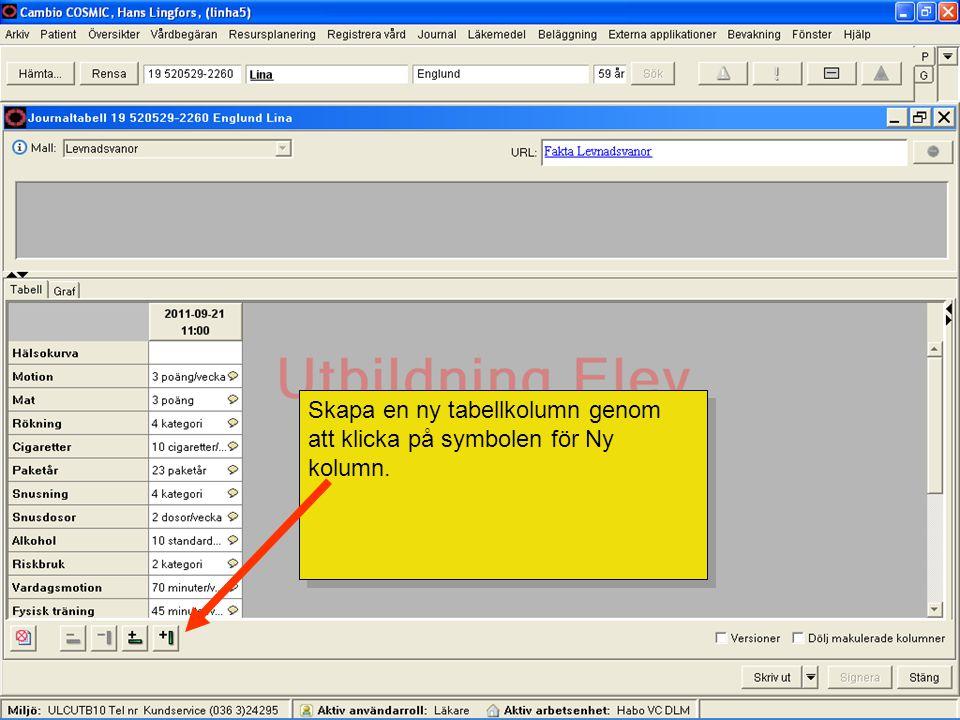 Skapa en ny tabellkolumn genom att klicka på symbolen för Ny kolumn.