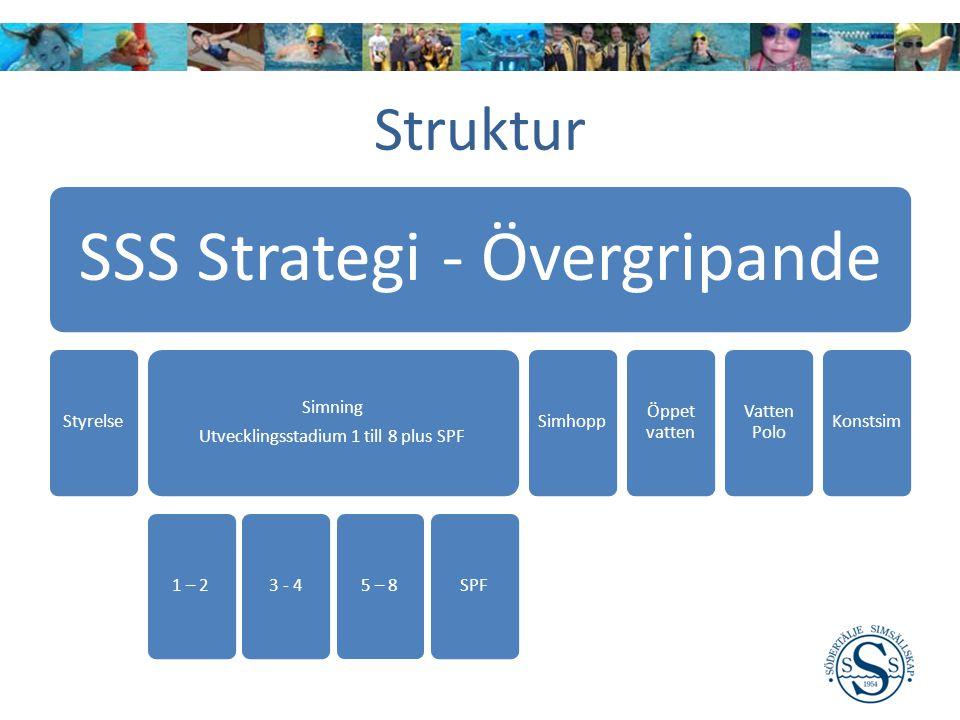 SSS Strategi - Övergripande Styrelse Simning Utvecklingsstadium 1 till 8 plus SPF 1 – 23 - 45 – 8SPFSimhopp Öppet vatten Vatten Polo Konstsim Struktur