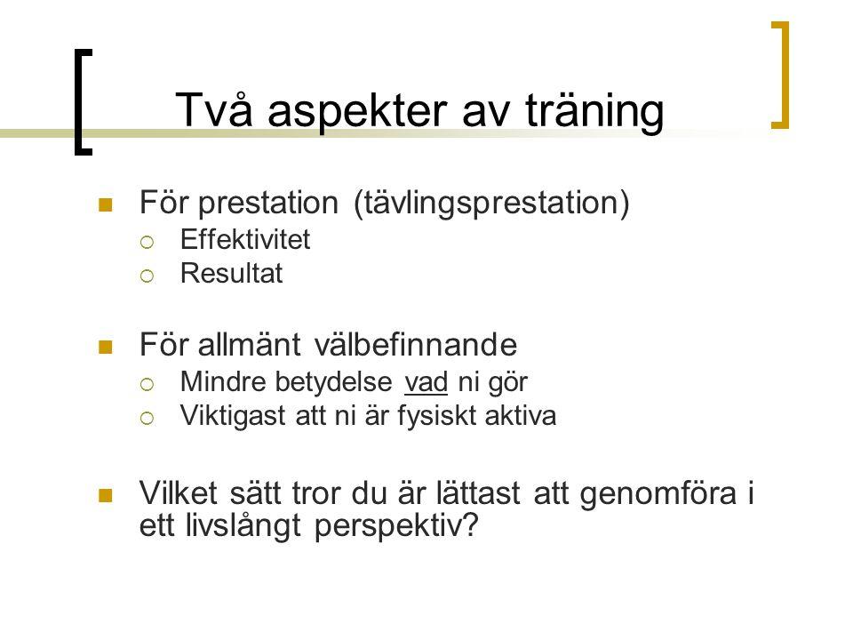 Två aspekter av träning För prestation (tävlingsprestation)  Effektivitet  Resultat För allmänt välbefinnande  Mindre betydelse vad ni gör  Viktig