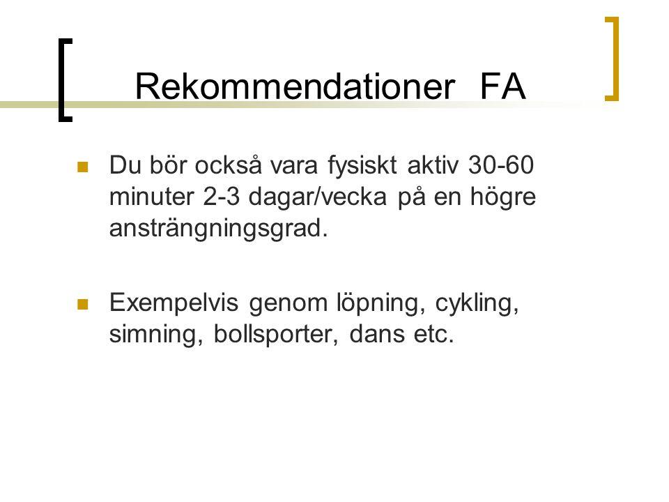 Rekommendationer FA Du bör också vara fysiskt aktiv 30-60 minuter 2-3 dagar/vecka på en högre ansträngningsgrad. Exempelvis genom löpning, cykling, si