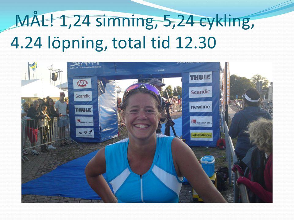 MÅL! 1,24 simning, 5,24 cykling, 4.24 löpning, total tid 12.30