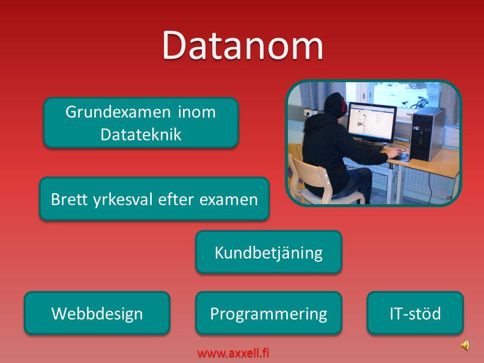 Datanom IT-stöd Webbdesign Programmering Brett yrkesval efter examen Brett yrkesval efter examen Kundbetjäning www.axxell.fi Grundexamen inom Datateknik Grundexamen inom Datateknik