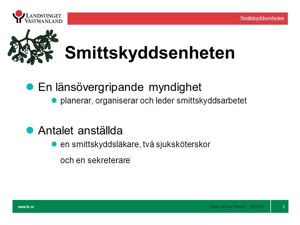 www.ltv.se Hygien + Smitta i förskola Smittskyddsenheten 13 09-02-04 Handdesinfektion l3000 barn på 60 förskolor i 10 län i 30 veckor lParvisa förskolor.