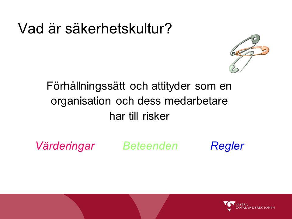 Vad är säkerhetskultur? Förhållningssätt och attityder som en organisation och dess medarbetare har till risker Värderingar BeteendenRegler