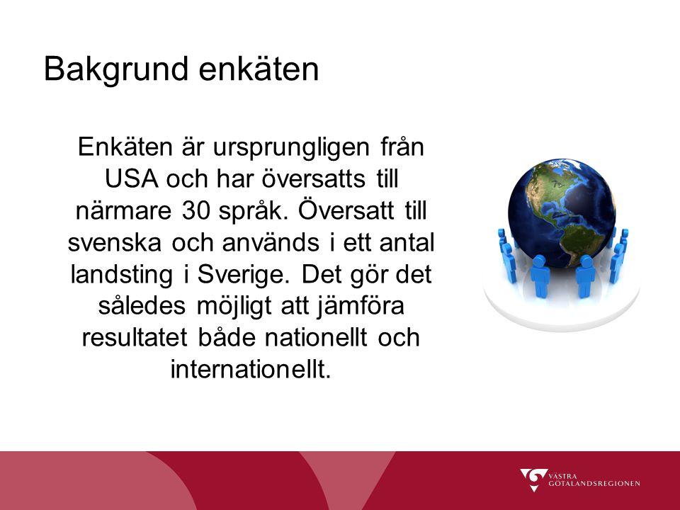 Bakgrund enkäten Enkäten är ursprungligen från USA och har översatts till närmare 30 språk. Översatt till svenska och används i ett antal landsting i