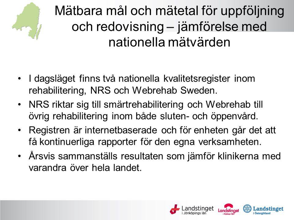 Mätbara mål och mätetal för uppföljning och redovisning – jämförelse med nationella mätvärden I dagsläget finns två nationella kvalitetsregister inom rehabilitering, NRS och Webrehab Sweden.