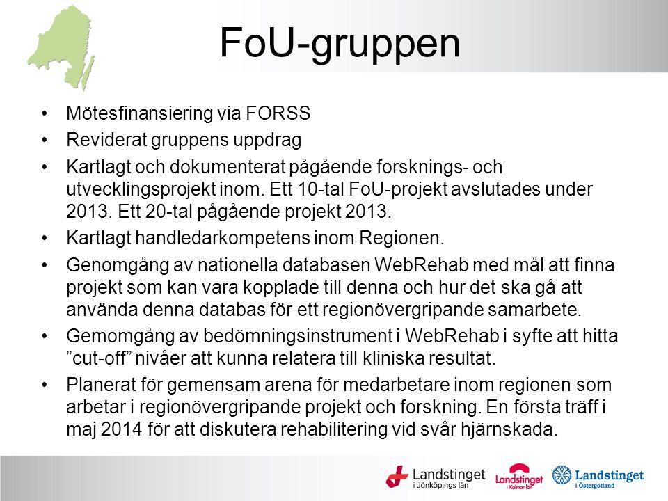 FoU-gruppen Mötesfinansiering via FORSS Reviderat gruppens uppdrag Kartlagt och dokumenterat pågående forsknings- och utvecklingsprojekt inom.