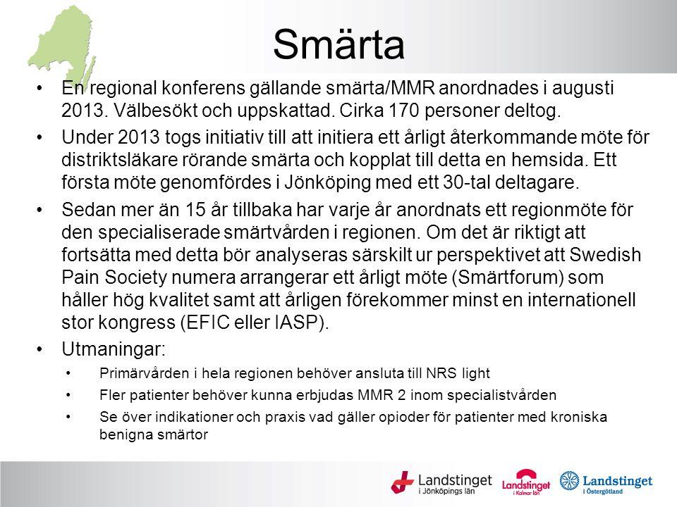 Smärta En regional konferens gällande smärta/MMR anordnades i augusti 2013.