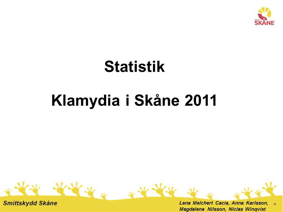 28 Statistik Klamydia i Skåne 2011 Lena Melchert Cacia, Anna Karlsson, Magdalena Nilsson, Niclas Winqvist Smittskydd Skåne