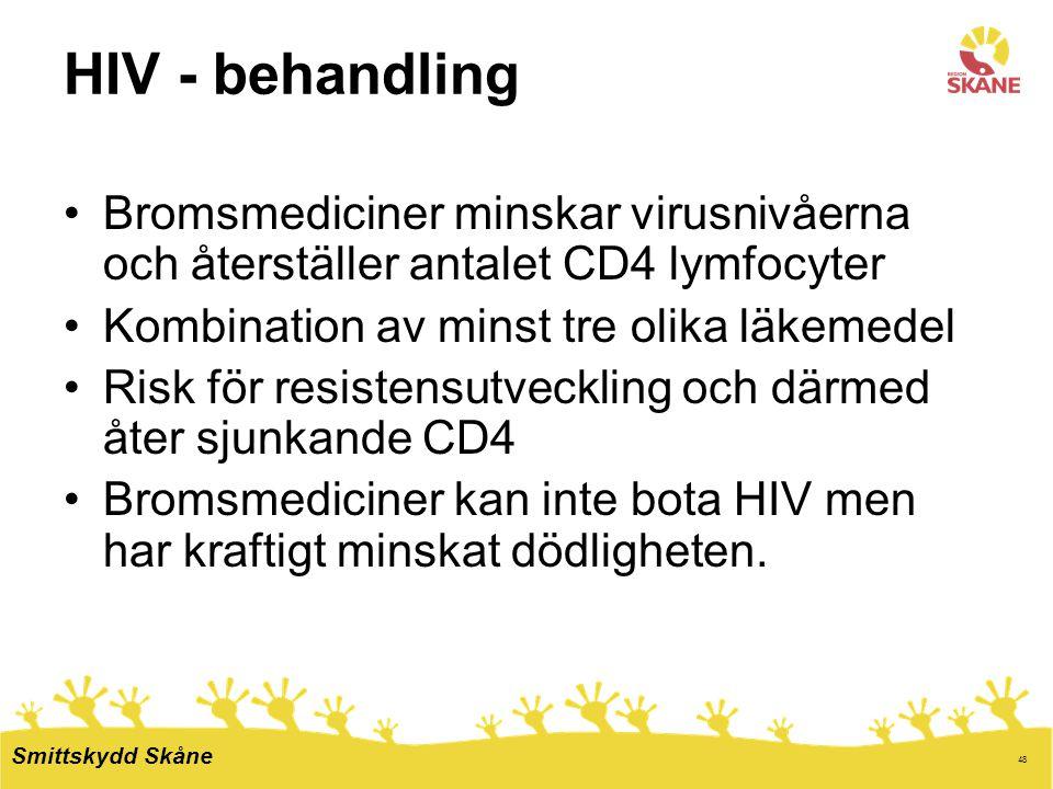 48 HIV - behandling Bromsmediciner minskar virusnivåerna och återställer antalet CD4 lymfocyter Kombination av minst tre olika läkemedel Risk för resi