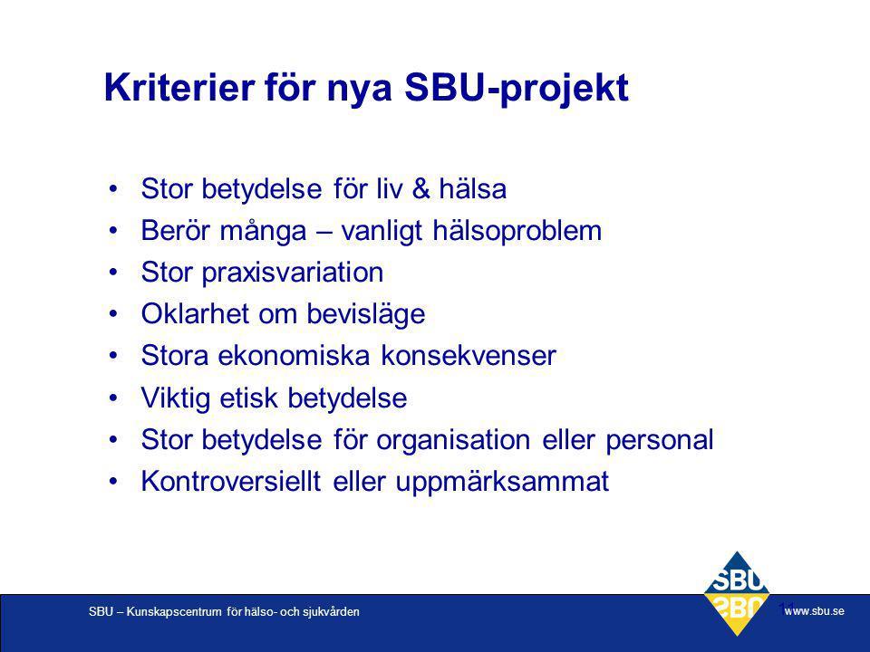 SBU – Kunskapscentrum för hälso- och sjukvården www.sbu.se 11 Stor betydelse för liv & hälsa Berör många – vanligt hälsoproblem Stor praxisvariation O