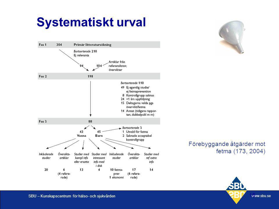SBU – Kunskapscentrum för hälso- och sjukvården www.sbu.se 16 Systematiskt urval Förebyggande åtgärder mot fetma (173, 2004)