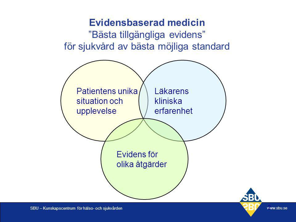 SBU – Kunskapscentrum för hälso- och sjukvården www.sbu.se 2 Patientens unika situation och upplevelse Läkarens kliniska erfarenhet Evidens för olika