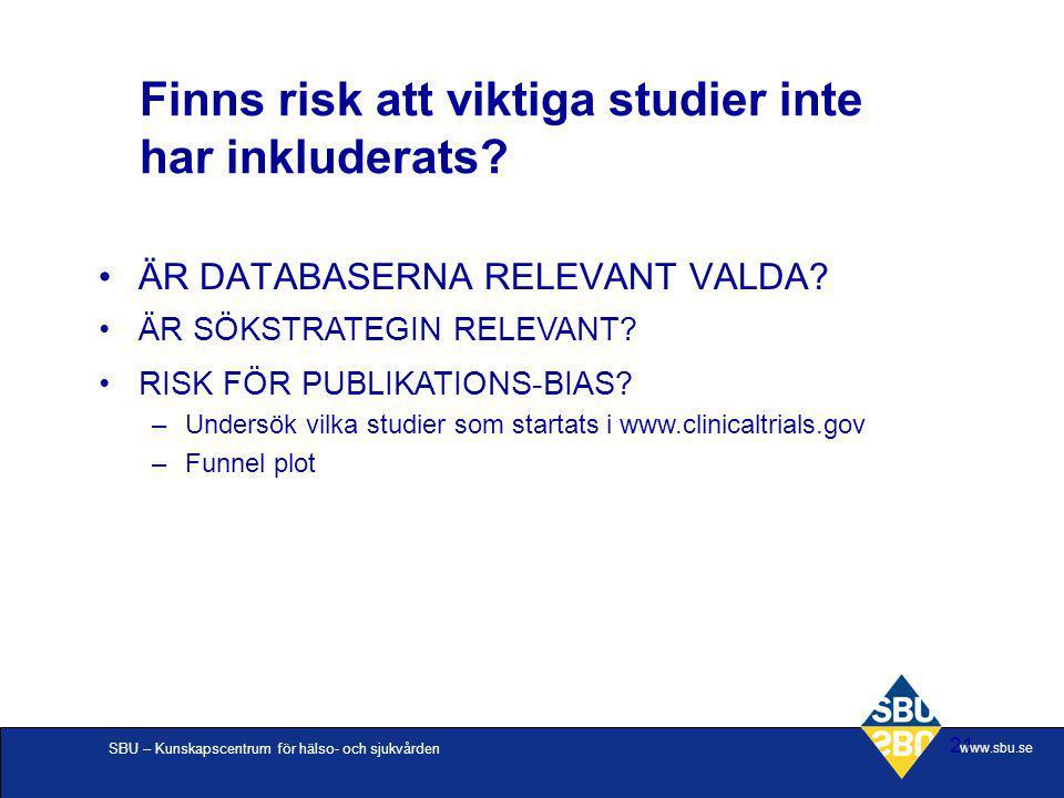SBU – Kunskapscentrum för hälso- och sjukvården www.sbu.se 21 Finns risk att viktiga studier inte har inkluderats? ÄR DATABASERNA RELEVANT VALDA? ÄR S