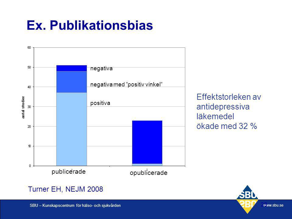 """SBU – Kunskapscentrum för hälso- och sjukvården www.sbu.se 23 Ex. Publikationsbias publicerade opublicerade negativa negativa med """"positiv vinkel"""" pos"""