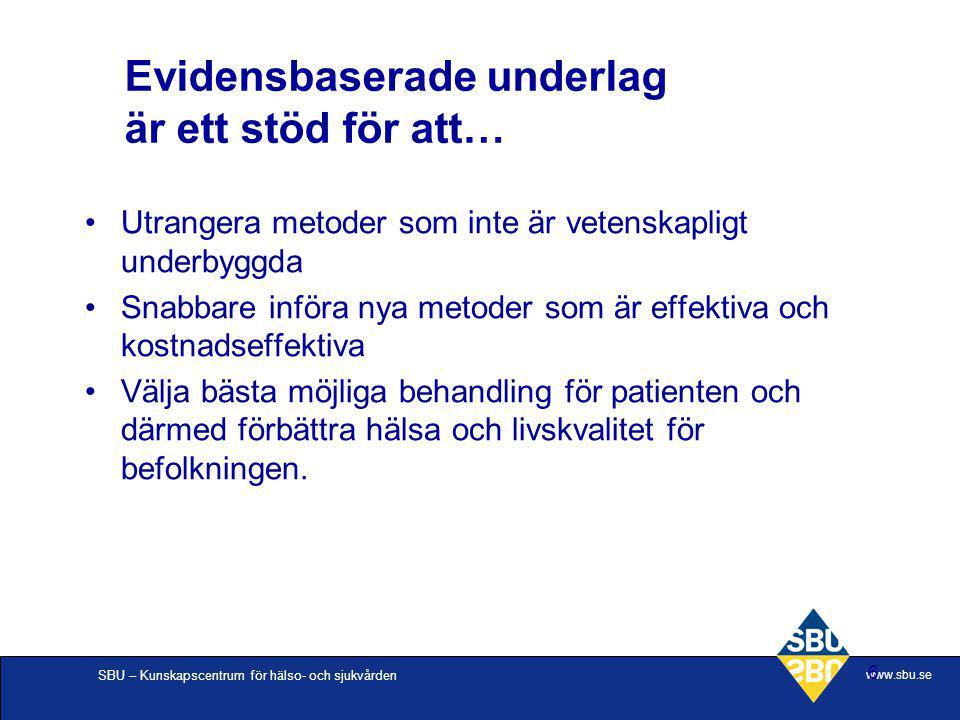 SBU – Kunskapscentrum för hälso- och sjukvården www.sbu.se 6 Evidensbaserade underlag är ett stöd för att… Utrangera metoder som inte är vetenskapligt