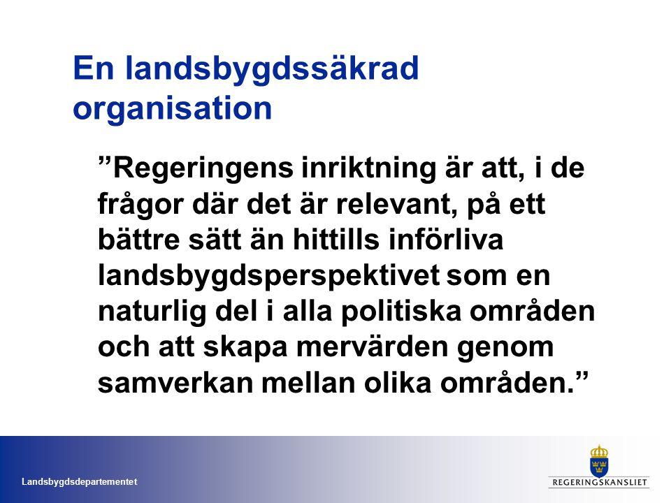 Landsbygdsdepartementet Det fortsatta arbetet Landsbygdssäkring i Regeringskansliet Flataklocksmodellen!