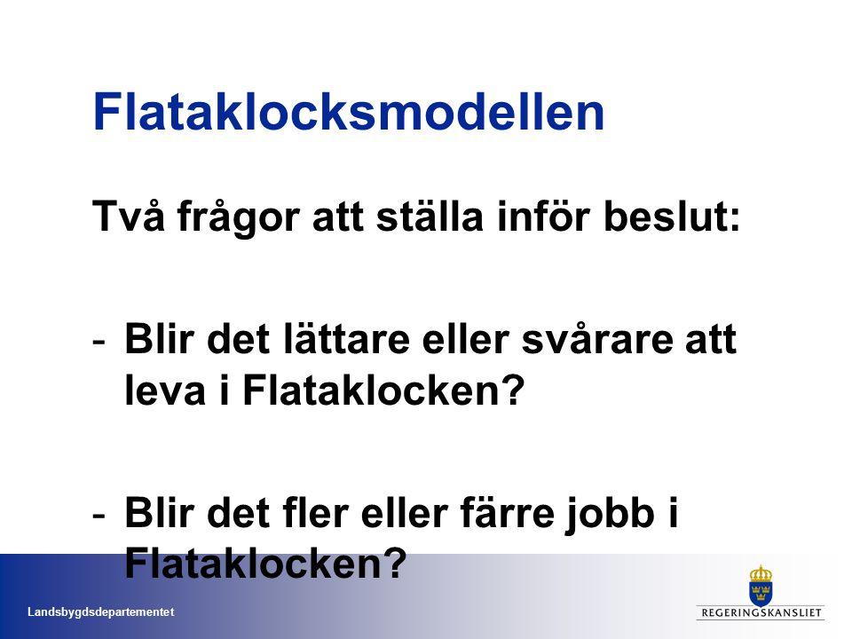Landsbygdsdepartementet Flataklocksmodellen Två frågor att ställa inför beslut: -Blir det lättare eller svårare att leva i Flataklocken.