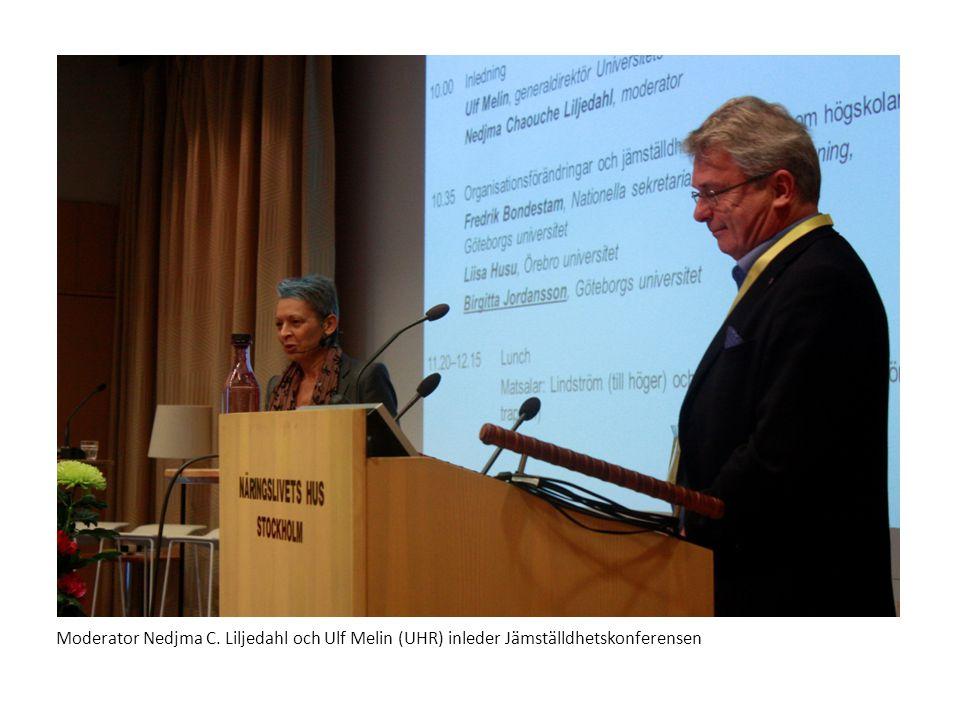Moderator Nedjma C. Liljedahl och Ulf Melin (UHR) inleder Jämställdhetskonferensen