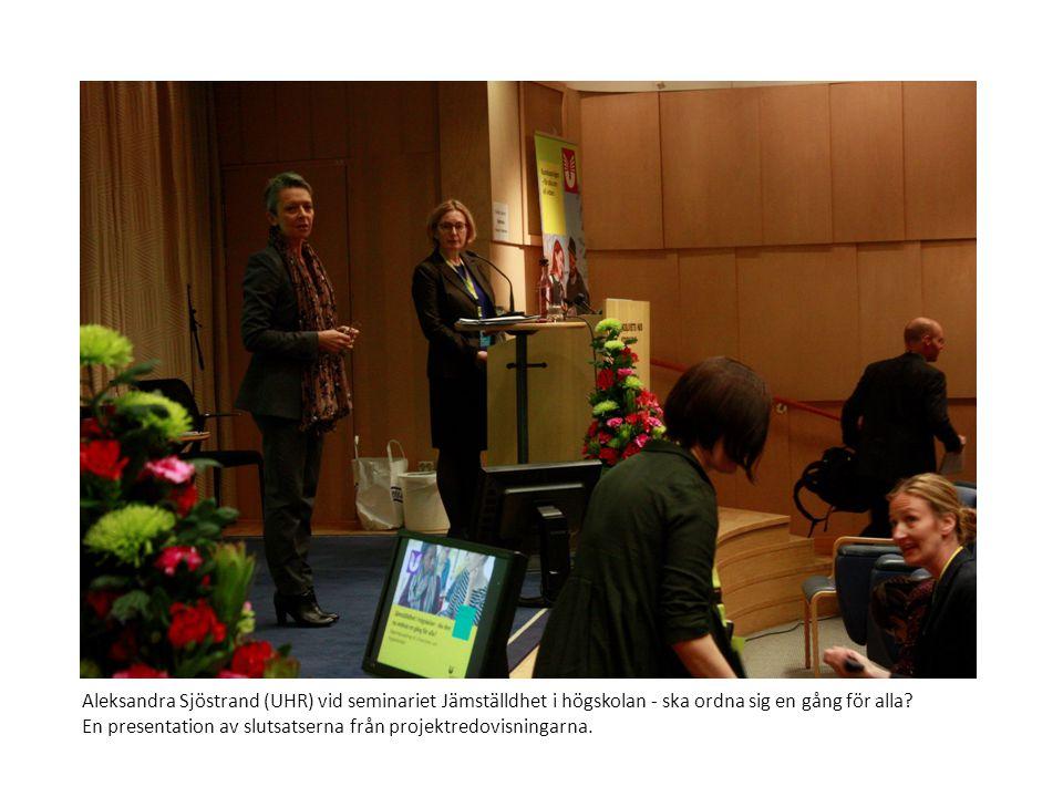 Aleksandra Sjöstrand (UHR) vid seminariet Jämställdhet i högskolan - ska ordna sig en gång för alla? En presentation av slutsatserna från projektredov