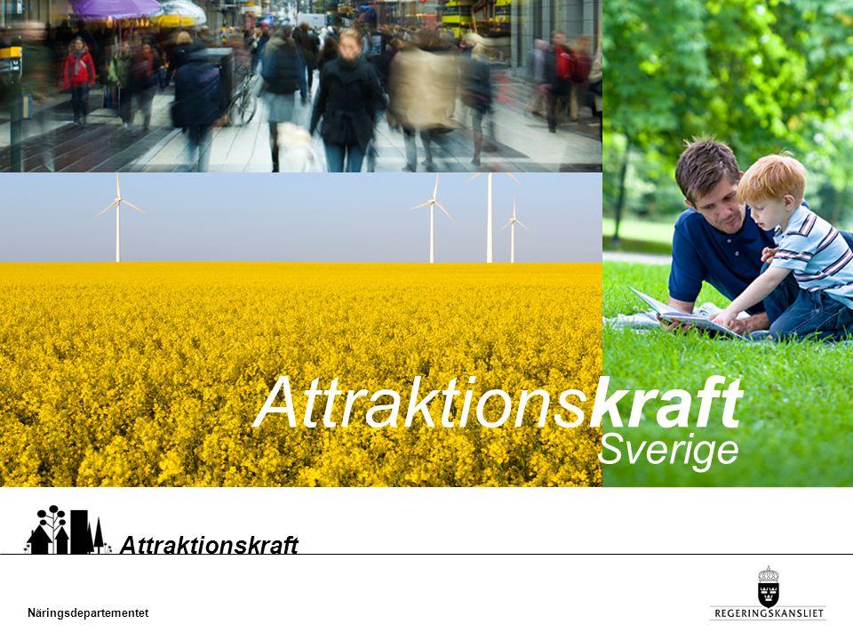 Näringsdepartementet Attraktionskraft Sverige ska vara världens bästa land att vistas, verka och växa i Det uppnås genom att människor, företag, kommuner och regioner skapar attraktiva miljöer och formar sin framtid utifrån sina unika förutsättningar
