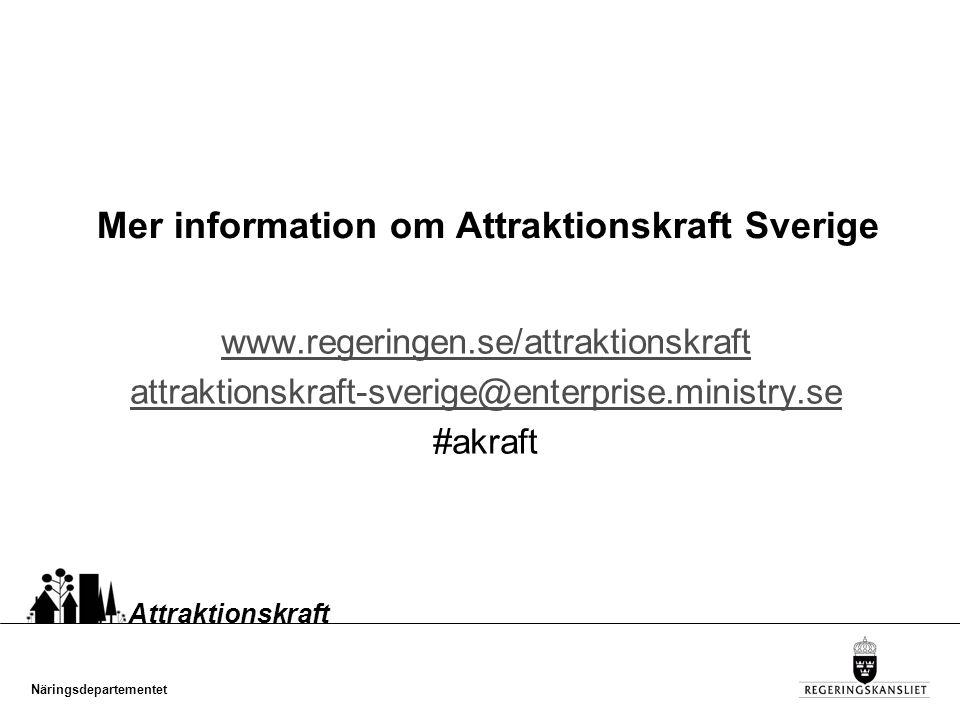 Näringsdepartementet Attraktionskraft Mer information om Attraktionskraft Sverige www.regeringen.se/attraktionskraft attraktionskraft-sverige@enterprise.ministry.se #akraft
