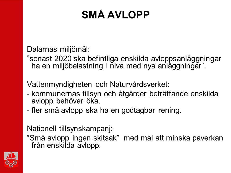 """SMÅ AVLOPP Dalarnas miljömål: """"senast 2020 ska befintliga enskilda avloppsanläggningar ha en miljöbelastning i nivå med nya anläggningar"""". Vattenmyndi"""