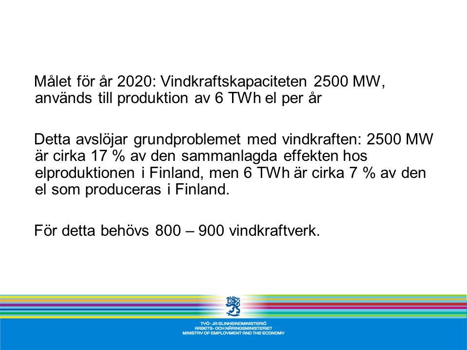 Målet för år 2020: Vindkraftskapaciteten 2500 MW, används till produktion av 6 TWh el per år Detta avslöjar grundproblemet med vindkraften: 2500 MW är cirka 17 % av den sammanlagda effekten hos elproduktionen i Finland, men 6 TWh är cirka 7 % av den el som produceras i Finland.