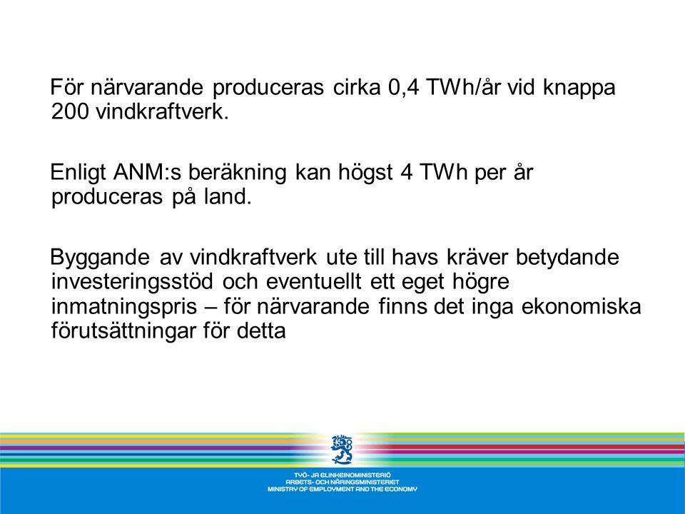 För närvarande produceras cirka 0,4 TWh/år vid knappa 200 vindkraftverk.