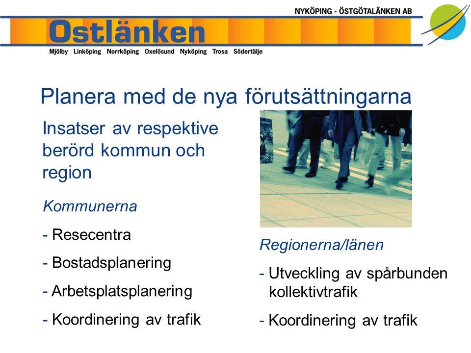 Kommunerna - Resecentra - Bostadsplanering - Arbetsplatsplanering - Koordinering av trafik Insatser av respektive berörd kommun och region Regionerna/länen - Utveckling av spårbunden kollektivtrafik - Koordinering av trafik Planera med de nya förutsättningarna