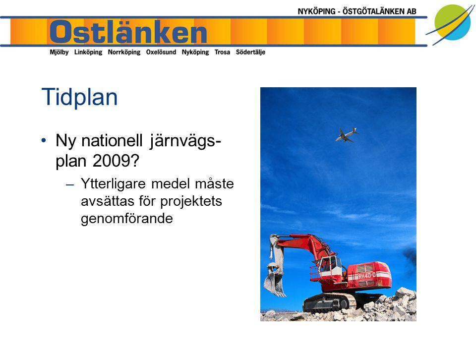 Tidplan Ny nationell järnvägs- plan 2009? –Ytterligare medel måste avsättas för projektets genomförande
