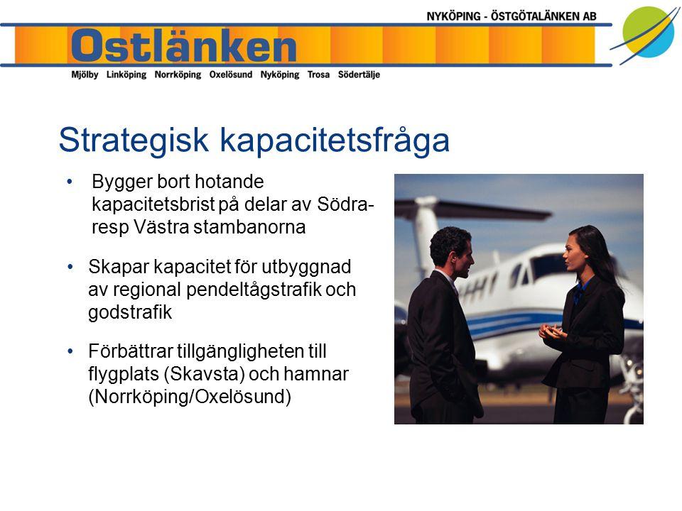 Strategisk kapacitetsfråga Bygger bort hotande kapacitetsbrist på delar av Södra- resp Västra stambanorna Skapar kapacitet för utbyggnad av regional pendeltågstrafik och godstrafik Förbättrar tillgängligheten till flygplats (Skavsta) och hamnar (Norrköping/Oxelösund)