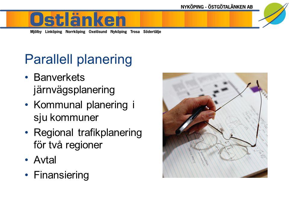 Banverkets järnvägsplanering Kommunal planering i sju kommuner Regional trafikplanering för två regioner Avtal Finansiering Parallell planering