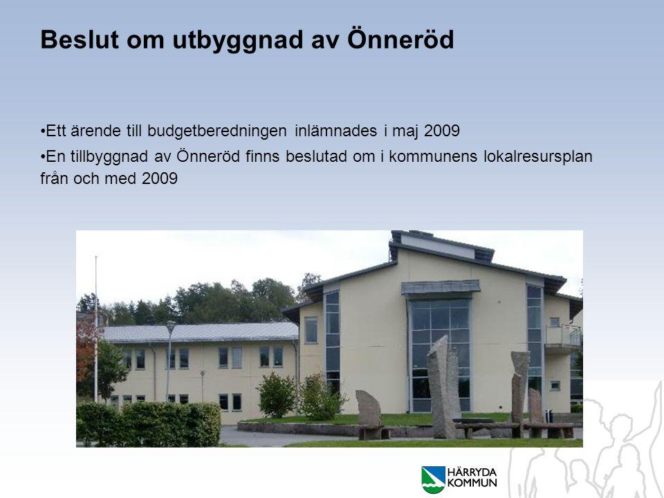 Beslut om utbyggnad av Önneröd Ett ärende till budgetberedningen inlämnades i maj 2009 En tillbyggnad av Önneröd finns beslutad om i kommunens lokalresursplan från och med 2009