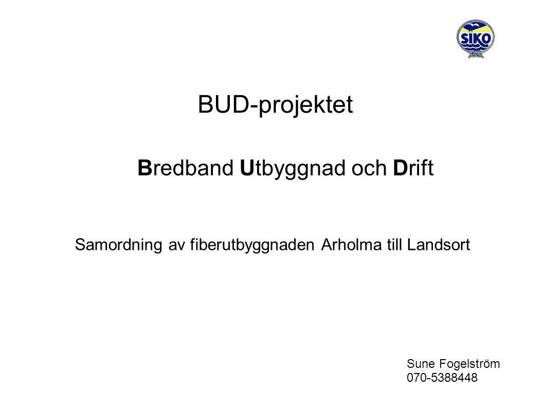 BUD-projektet Bredband Utbyggnad och Drift Samordning av fiberutbyggnaden Arholma till Landsort Sune Fogelström 070-5388448